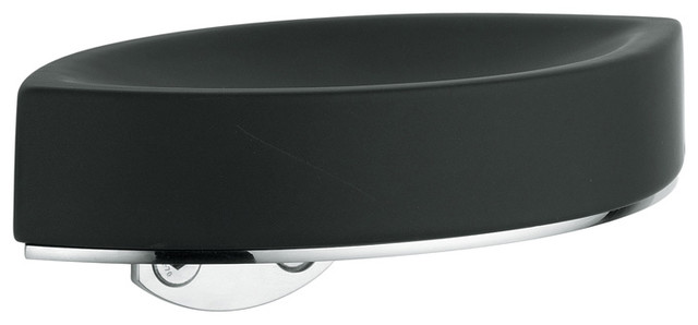 Glam 1620eb Wall Mounted Soap Dish In Black Ceramic Contemporary