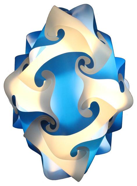 Kaleido Lamps 24 Element Oval Shape Ceiling Light, Blue, Large.