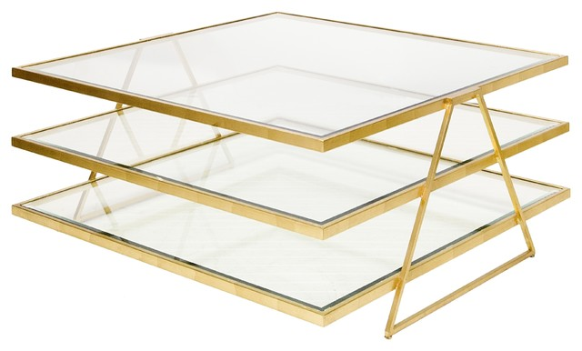 Worlds Away 3 Tier Gold Leafed Coffee Table With Beveled Gl Jonathan G Contemporary