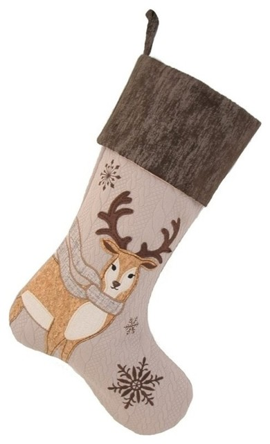 manor luxe cozy reindeer christmas stocking natural
