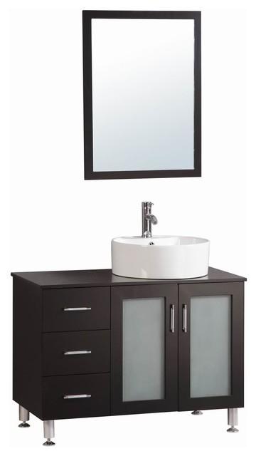 40 Belvedere Modern Espresso Freestanding Bathroom Vanity With Vessel Sink Contemporary Vanities