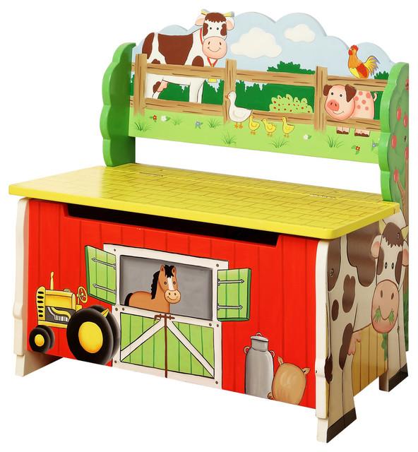 Happy Farm Storage Bench Farmhouse Kids Storage Benches And Toy