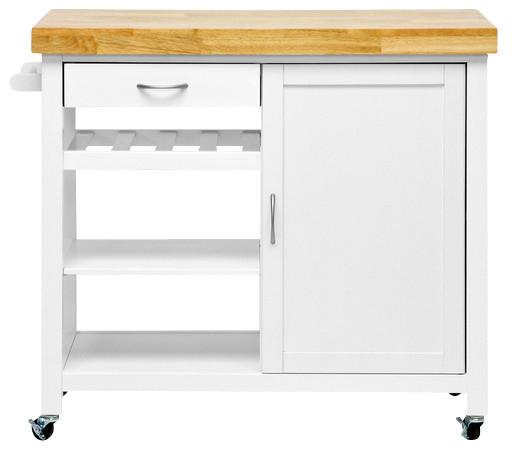 Denver Kitchen Cart White Transitional Kitchen Islands And Kitchen Carts By Baxton Studio