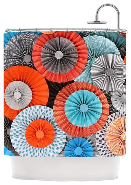 Heidi Jennings Breaking Free Orange Blue Shower Curtain
