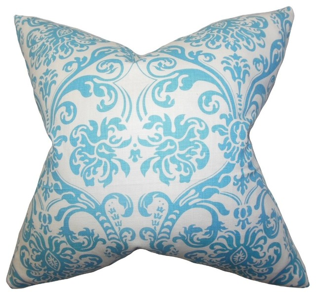 Sky Blue Decorative Pillows : Saskia Damask Pillow Sky Blue - Transitional - Decorative Pillows - by The Pillow Collection