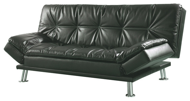 Metal Leg Faux Leather Sofa Bed Futon Black Without Ottoman
