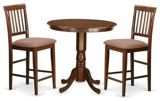 Adam Counter-Height Dining Table Set, Mahogany, 3 Pieces, Microfiber