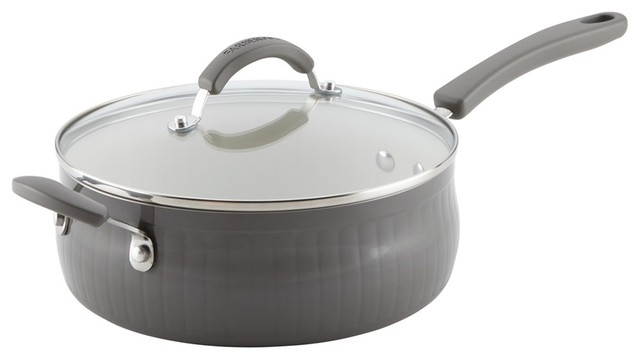 New Traditions Aluminum Nonstick 4-Quart Covered Saute With Helper Handle, Gray.