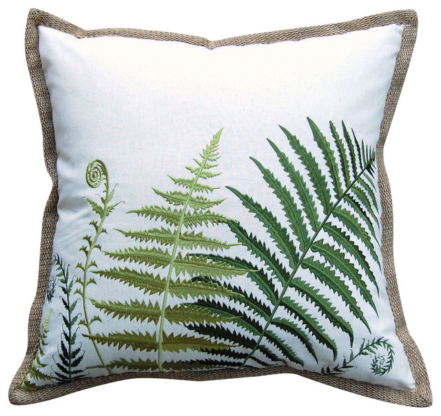 Fiddlehead  Ferns Embroidered Pillow.