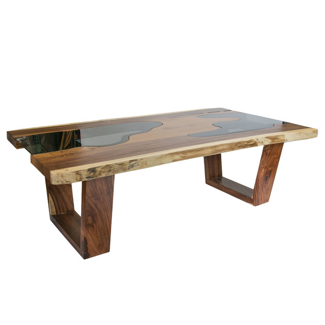 Live edge solid wood slab dining table with glass inserts for Wooden glass dining table designs