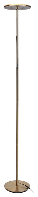 Elegant Torchier Led Dimmable Floor Lamp, Antique Brass.