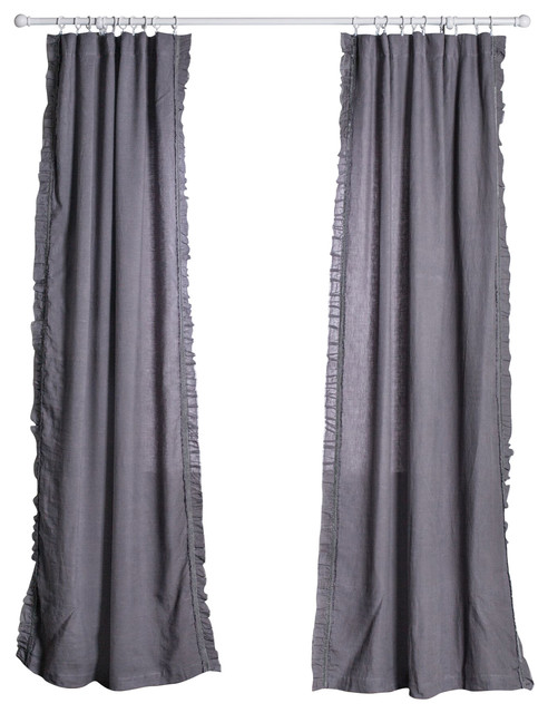 Curtain panel mathilde slate curtains by pom pom at home - Epic window treatment decoration with slate blue curtain ...