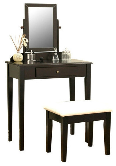 Contemporary Espresso Vanity Set With Beveled Mirror Bedroom Makeup Vanities By Hearts Attic