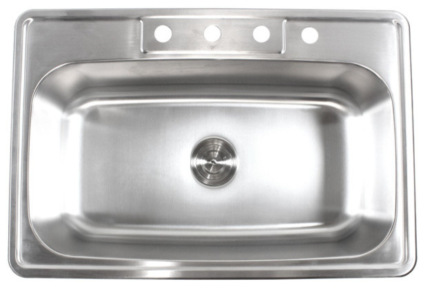 33 Stainless Steel Top Mount Drop In Single Bowl Kitchen Sink 18 Gauge Contemporary