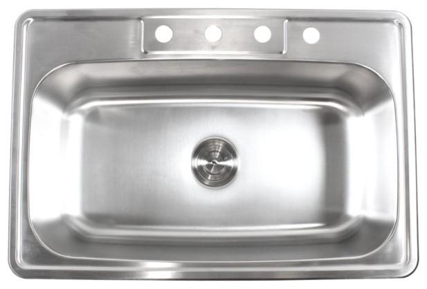 33 stainless steel top mount drop in single bowl kitchen sink 18 gauge kitchen - Stainless Steel Kitchen Sink Gauge
