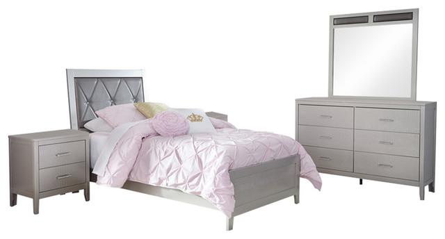 Ashley Olivet 5-Piece Bedroom Set Twin Panel, Silver.