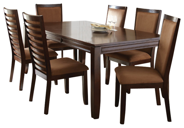 Steve Silver Cornell 8Piece Rectangular Dining Room Set in Rich