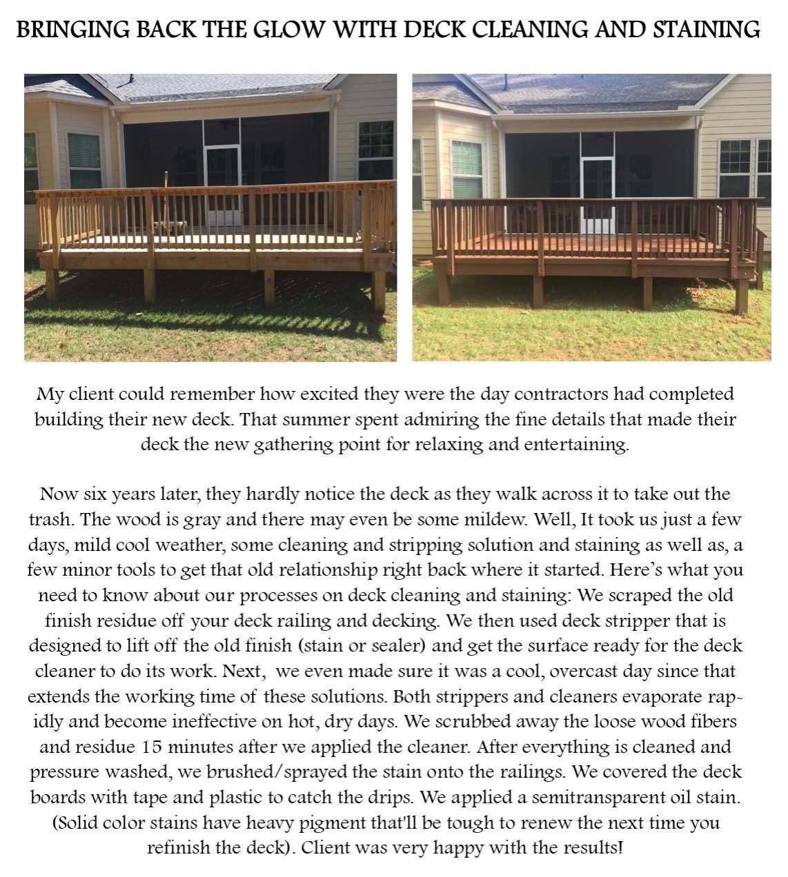 Deck refurbishing and staining