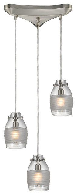 Elk lighting 461613 carved glass 3 light multi light pendant carved glass 3 light pendant in brushed nickel contemporary pendant lighting mozeypictures Gallery