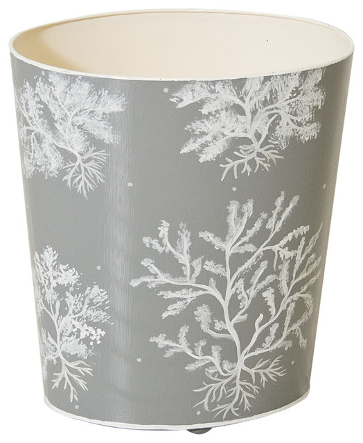 Worlds away gray and white wastebasket view in your room houzz - Modern wastebasket ...