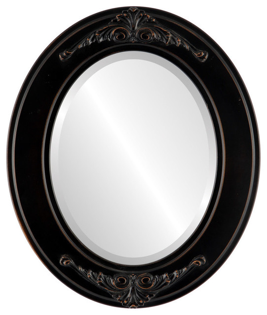 """Ramino Framed Oval Mirror In Rubbed Bronze, 21""""x25""""."""