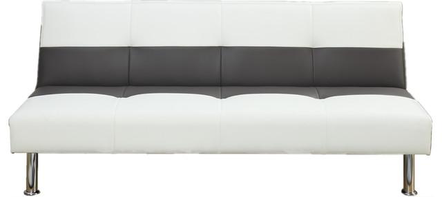 Adarn Inc White Faux Leather Sleeper Sofa Bed Futon Reviews Houzz