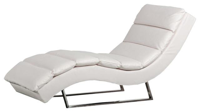 Divani Casa Trance, Modern White Leatherette Chaise.