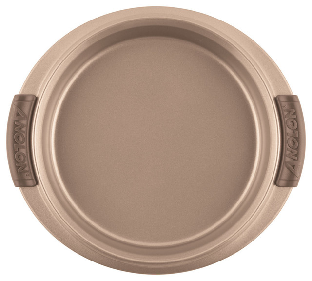"Advanced Bronze Nonstick Bakeware 9"" Round Cake Pan With Silicone Grips."