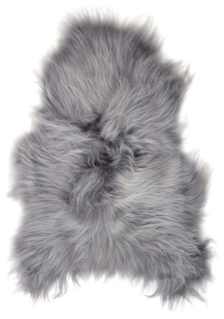 arctic icelandic sheepskin rug grey