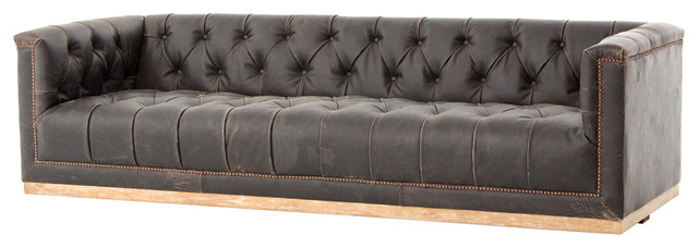 Karl Rustic Lodge Black Stud Tufted Leather Sofa