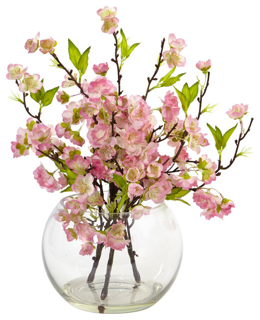 Cherry Blossom In Large Vase Asian Artificial Flower