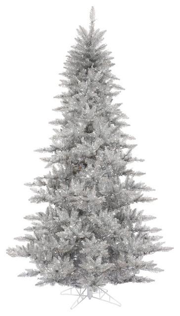 Contemporary Christmas Tree.6 5 Silver Tinsel Fir Artificial Christmas Tree Unlit