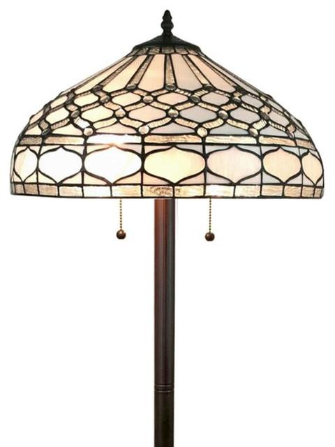 Tiffany Style Royal White Floor Lamp 62.
