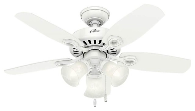 "Hunter Builder Small Room 42"" Ceiling Fan With Light, Snow White."