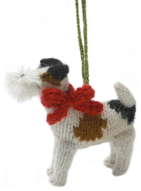 Hand-Knit Fox Terrier Ornament, Set of 2 - Contemporary ...