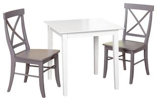 Ancona 3 Piece Dining Set, White/Gray