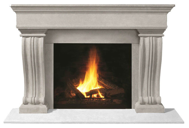 Fireplace Stone Mantel 1110.536 With Filler Panels, Natural, No Hearth Pad.