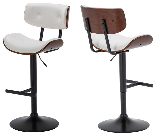 Walnut Bar Stool Adjustable Set Of 2 Contemporary Bar Stools And Counter Stools By Onebigoutlet