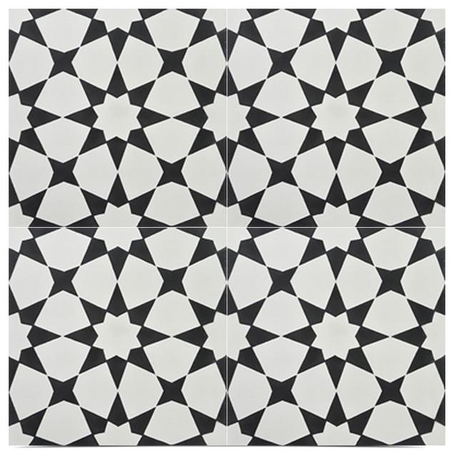 Medina handmade cement tile black and off white set of for Handmade cement tiles