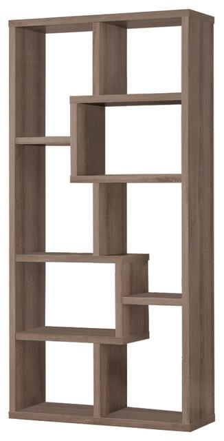 Multiple Cubed Rectangular Bookcase, Gray.