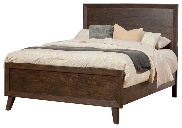 Rubberwood Queen Panel Bed, Brown.