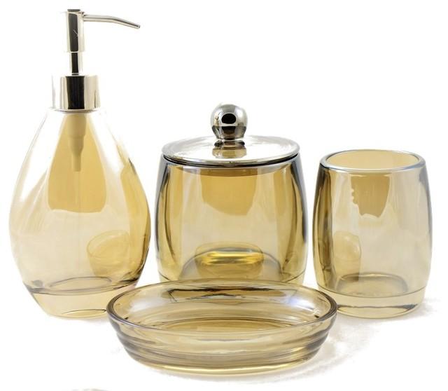 Angus Glass Bathroom Set Of Champagne, Glass Bathroom Accessories Sets