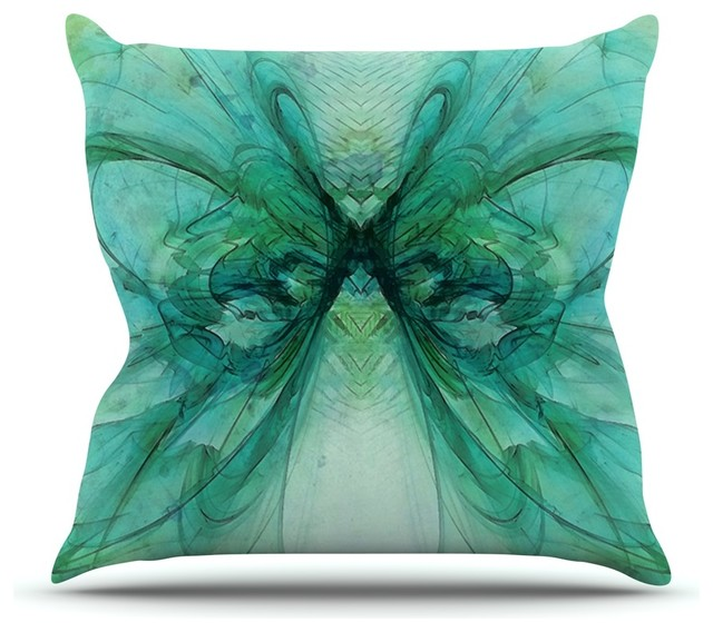 alison coxon butterfly blue green black throw pillow 16x16 contemporary - Black Decorative Pillows