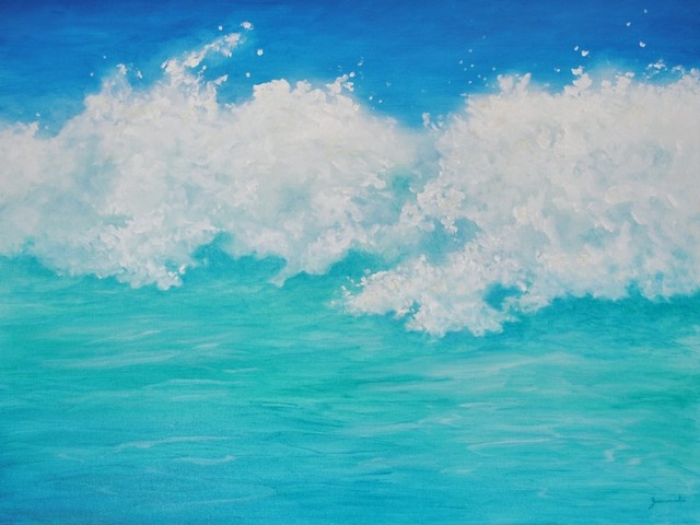 Original Tropical Seascape Oil Painting Water 3
