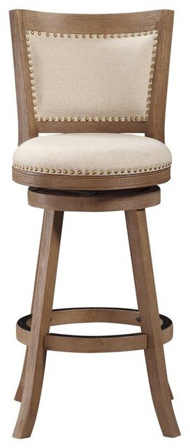 "29"" Melrose Barstool, Driftwood Gray Wire-Brush And Ivory"