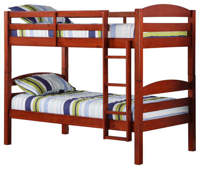 Twin Solid Wood Bunk Bed Cherry Transitional Bunk Beds By Walker Edison