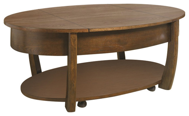 Concierge Oval Lift Top Coffee Table Transitional