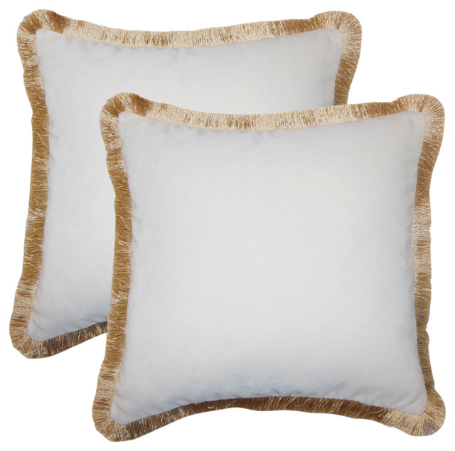 Belle Holiday Throw Pillows, Gold Fringe, Set Of 2.