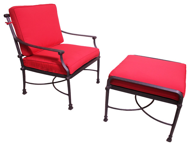 Patio Retreat Oasis Deep Seat Club Chair and Ottoman With Cushion Set Outd