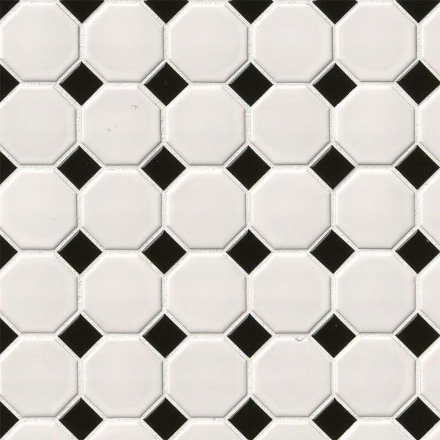 White And Black Matte Octagon Mosaic